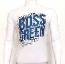 Hugo Boss Long Sleeve Mens Designer T-Shirt,Crew Neck,Cotton,White, S,M,L *BNWT*