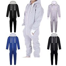 Boys Girls Childrens Plain Hooded All In One Onesie Jumpsuit Playsuit 7-13 Years
