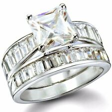 .925 Sterling Silver Wedding Set Ring CZ Princess Cut Engagement size 4-11 New