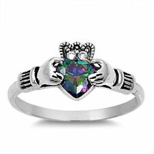 .925 Sterling Silver Claddagh ring CZ Heart Crown Mystic Topaz size 5-9 Midi New