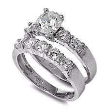 .925 Sterling Silver Wedding Set CZ Engagement Ring Bridal Ladies Size 5-12 New