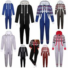New Kids Girls Boys Plain Aztec Hooded Onesie Jumpsuit All In Ages 7-13 Years