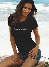 French Connection Ladies t-shirt FCUK IN SIN CITY Black  *NEW*