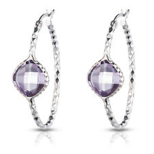 Sterling Silver Checkerboard Diamond Cut Oval hoop earrings With Colored Stone