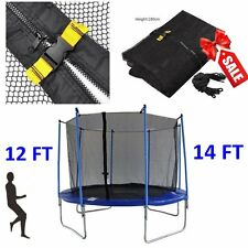 New 12/14ft 4Arch 8Pole Round Trampoline Enclosure Net Fence Safety Mesh UB