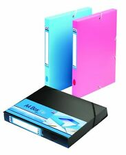 Pack of 3 A4 Elasticated Box File Document Holder Storage Assorted Colours