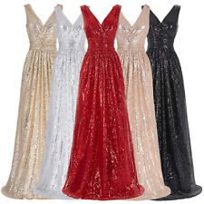 V-Neck Long Maxi Sequins Wedding Evening Party Dress Formal Prom Bridesmaid Gown