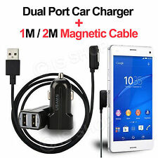 Magnetic USB Cable Sony Xperia Z3 Z2 Z1 Compact & Dual Port Car Charger Adapter