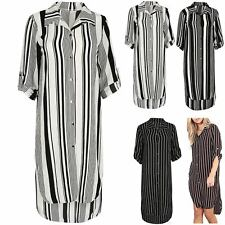 Womens Shirt Dress Ladies Stripe Side Split Button Down Long Sleeve Collared Top