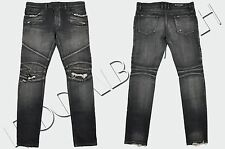 BALMAIN 1485$ Authentic New Skinny Black Knee Rip Japanese Biker Jeans FW16/17