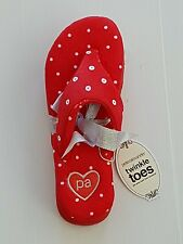 PETER ALEXANDER LADIES VELOUR SEQUIN SPOT THONGS SLIPPERS SHOES in Red RRP$39