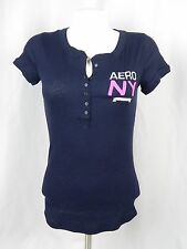 NEW Aeropostale Women's Navy Blue Light Thermal NY Embellished Henley Shirt