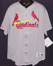 Vintage 90's MLB St. Louis CARDINALS Majestic JERSEY Grey NWT New Old Stock NOS