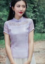 New Arrival Graceful Collar Short Sleeve Flower Embroidery Chiffon Blouse