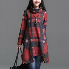 Women Vintage Plaid Asymmetry Long Sleeve Turn Down Collar Thickening Dress