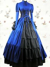 Victorian Gothic Blue cotton Long Sleeve Lace Layered Lolita Dress Tailor Made