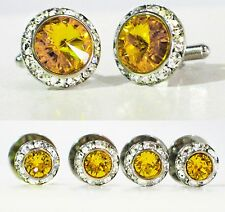 SUNFLOWER CRYSTAL TUXEDO CUFFLINKS & STUDS SET CUSTOM MADE/W SWAROVSKI CRYSTALS