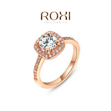 18K Rose Gold Plated Zircon Crystal Ring Women Wedding Jewelry Size 5 6 7 8 9