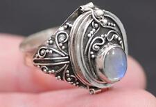 Handmade Sterling Silver .925 Med. Vintage Style Locket Poison/Box Ring w Gem.