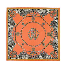 "Women's Nude Orange Leopard Twill Silk Square Shawl Scarf Big Size 39""*39"""