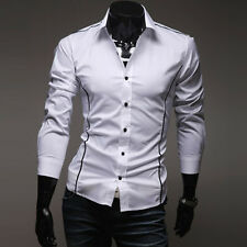 Fashion Men's Casual Slim line Stylish Long Sleeve Dress Shirts Tops Black/White