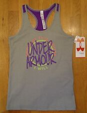 NWT UNDER ARMOUR VICTORY TANK TOP FITTED GRAY GIRLS SMALL MEDIUM LARGE