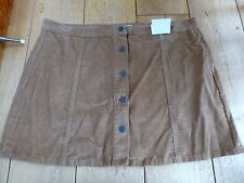 ATMOSPHERE PRIMARK TAN BROWN CAMEL CORDUROY NEEDLECORD CORD MINI SKIRT UK 20