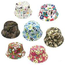 Vintage Kids Boys Girls Printed Cotton Bucket Hat Summer Outdoor Beach Sun Cap