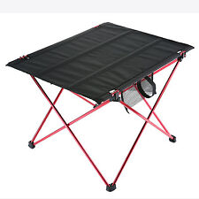 Folding Camping Table Picnic Portable Outdoor Aluminum Dining Roll Up Desk Light