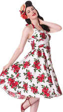 Hell Bunny 50s White & Red Cannes Rose Vintage Style Halterneck Dress 8-22 plus