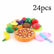 24 Pcs/Set Early Development Children Pretend Play Cut Fruit Pizza Food Toys BE