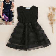 2-8Y Toddler Kid Baby Girl Princess Black Wedding Party Pageant Tulle Tutu Dress