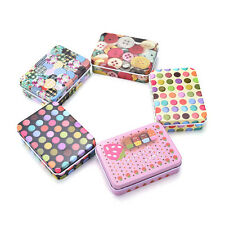 Mini Tin Metal Container Small Rectangle Lovely Storage Box Case Pattern New JD