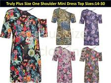 Plus Size Womens Cold One Shoulder Top Heart Skull Floral Print  Mini Dress14-30