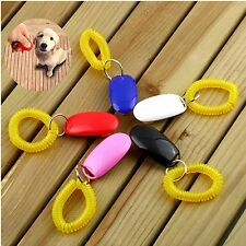 Dog Pet Click Clicker Training Obedience Agility Trainer Aid Wrist Strap AR