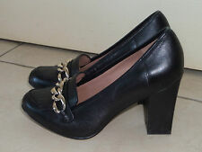 BOUTIQUE by HOTTER GORGEOUS BLACK LEATHER STYLISH CHAIN DETAIL COURT SHOES 4.5