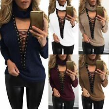 Sexy V Neck Turtleneck Lace Up Knitted Sweater Pullover Jumper Casual Tops Women
