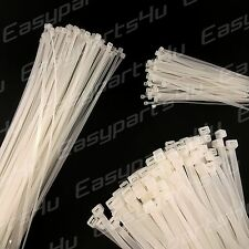 Nylon Cable Ties Natural White pack of 10/50/100pc Long Wide Zip Wire Strap Wrap