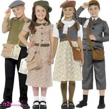 Child WW2 Evacuee Boy Girl 40's 40s School Book Day Fancy Dress Costume Outfit