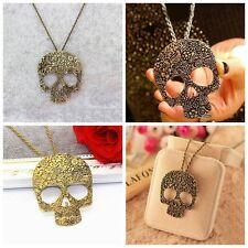 Accessories Bronze Punk Rock Gothic Long Chain Skull Pendant Sweater Necklace