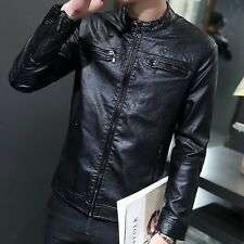 New Spring Mens Motorcycle Casual Slim Coats Zip PU Leather Jacket Outwear Parka