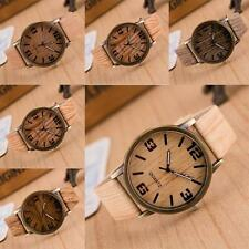 Casual Jewelry Wristwatch Wooden Quartz Analog Leather Strap