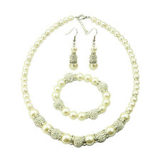 Round Immitation Pearl Necklace Earring  Bracelet Women Lady Fahion Jewelry Set