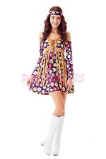 Ladies Costume Fancy Dress Up (310) 60s 70s Retro Groovy Costume Hippie sz 8-18
