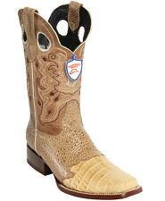 Men's Wild West Genuine Caiman Belly With Saddle Vamp Square Toe Boots Handmade
