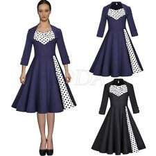 Women Vintage Retro Swing 50s 60s Housewife Rockabilly Pinup Evening Party Dress