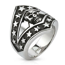 Patriotic Skull Shield Cast Ring Stainless Steel. Mens Biker Ring Retail $39.95