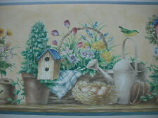 WATERING CANS, BIRD HOUSES, FLOWERS LAUNDRY ROOM Wallpaper Border