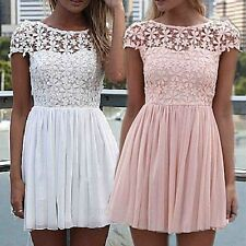 Women Lace Patchwork Backless Short Sleeve Evening Sexy Party Mini Dress S-XL