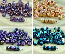 NEW SHAPE 30pcs Half Czech Glass Hill Beads Half Round Faceted Fire Polished 6mm